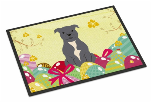 Easter Eggs Staffordshire Bull Terrier Blue Indoor or Outdoor Mat 18x27 Perspective: front