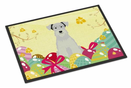 Easter Eggs Miniature Schanuzer White Indoor or Outdoor Mat 18x27 Perspective: front