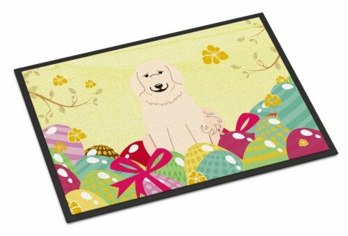 Easter Eggs Great Pyrenese Indoor or Outdoor Mat 18x27 Perspective: front