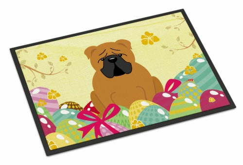 Easter Eggs English Bulldog Red Indoor or Outdoor Mat 18x27 Perspective: front