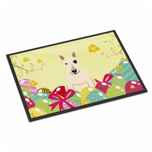 Easter Eggs Bull Terrier White Indoor or Outdoor Mat 18x27 Perspective: front