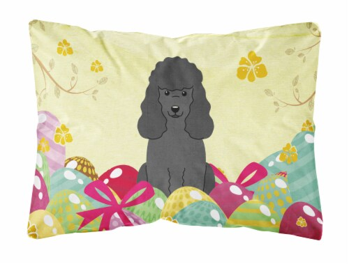 Easter Eggs Poodle Black Canvas Fabric Decorative Pillow Perspective: front