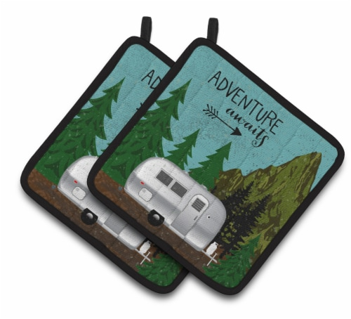 Airstream Camper Adventure Awaits Pair of Pot Holders Perspective: front