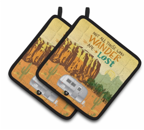 Airstream Camper Camping Wander Pair of Pot Holders Perspective: front