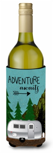 Airstream Camper Adventure Awaits Wine Bottle Beverge Insulator Hugger Perspective: front
