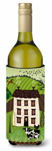 Folk Art Country House Wine Bottle Beverge Insulator Hugger Perspective: front