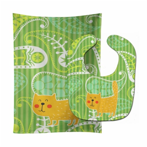 Carolines Treasures  BB6785STBU Cat on Paisley Baby Bib & Burp Cloth Perspective: front