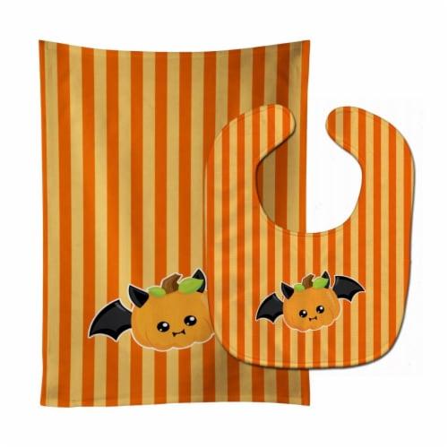 Carolines Treasures  BB6959STBU Halloween Pumpkin Bat Baby Bib & Burp Cloth Perspective: front