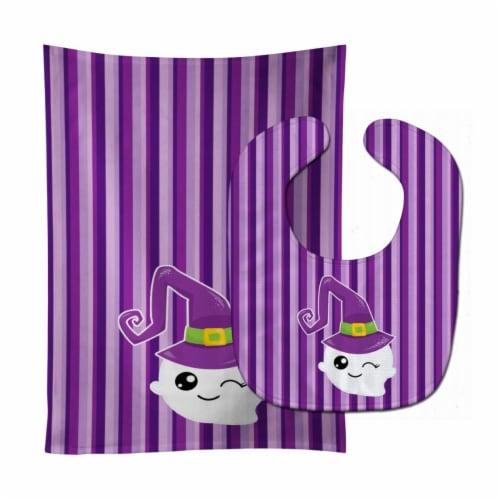 Carolines Treasures  BB6966STBU Halloween Ghost Witch Baby Bib & Burp Cloth Perspective: front