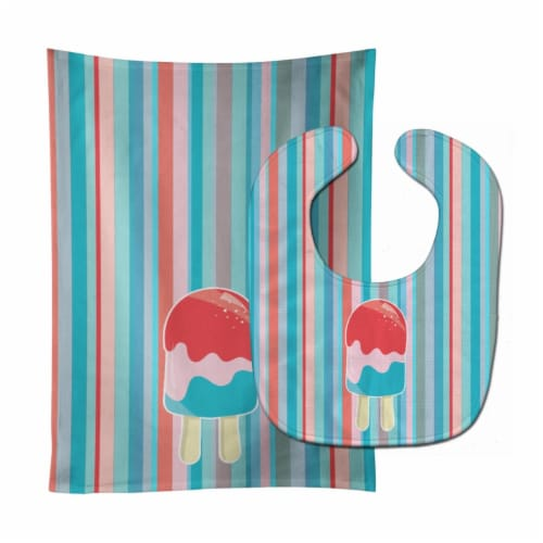 Ice Pop Popsicle Red Pink Blue Baby Bib & Burp Cloth Perspective: front