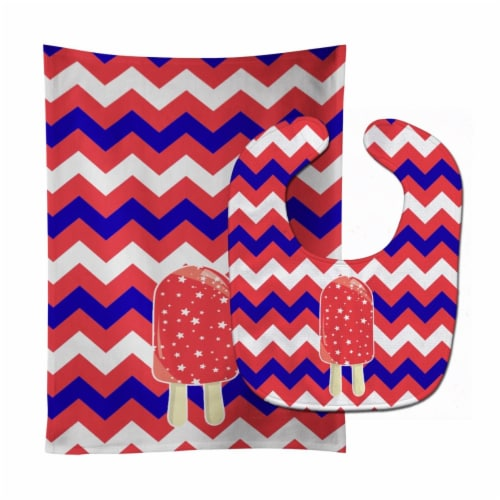 Ice Pop Popsicle Red White Blue Baby Bib & Burp Cloth Perspective: front