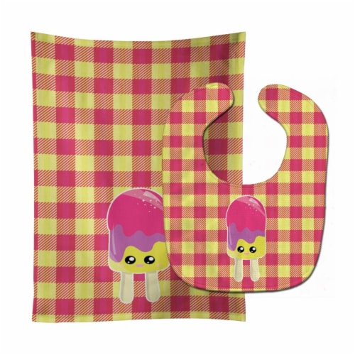 Ice Pop Popsicle Face Gingham Baby Bib & Burp Cloth Perspective: front