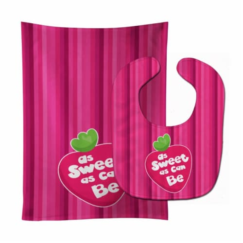 Stawberry As Sweet as Can Be Baby Bib & Burp Cloth Perspective: front