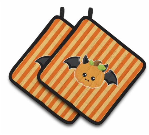 Carolines Treasures  BB6959PTHD Halloween Pumpkin Bat Pair of Pot Holders Perspective: front