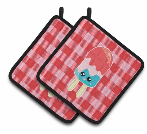 Ice Pop Popsicle Face Gingham Pair of Pot Holders Perspective: front