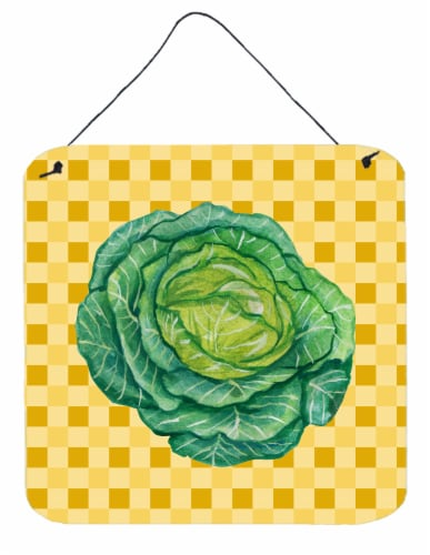 Cabbage on Basketweave Wall or Door Hanging Prints Perspective: front