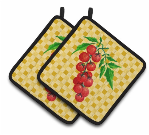 Carolines Treasures  BB7194PTHD Cherry Tomato on Basketweave Pair of Pot Holders Perspective: front