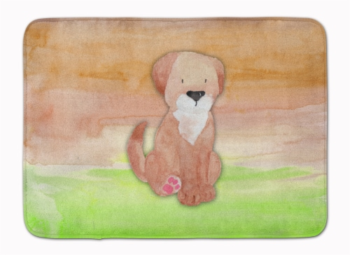 Dog Green and Brown Watercolor Machine Washable Memory Foam Mat Perspective: front