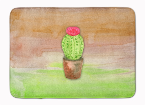 Cactus Green and Brown Watercolor Machine Washable Memory Foam Mat Perspective: front