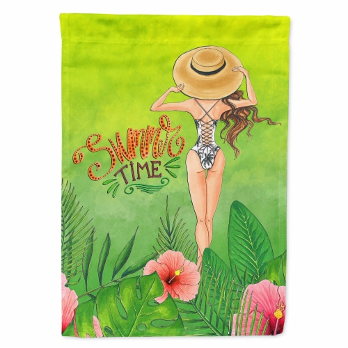 Summer Time Lady in Swimsuit Flag Canvas House Size Perspective: front