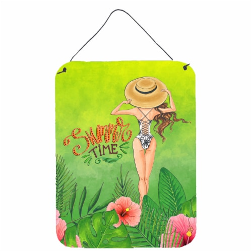 Summer Time Lady in Swimsuit Wall or Door Hanging Prints Perspective: front
