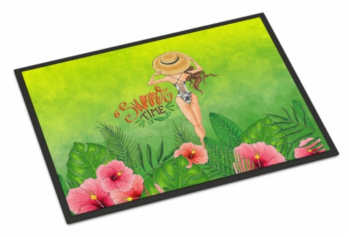 Summer Time Lady in Swimsuit Indoor or Outdoor Mat 18x27 Perspective: front