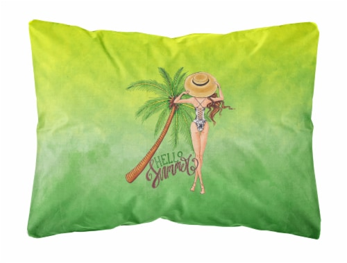 Hello Summer Lady in Swimsuit Canvas Fabric Decorative Pillow Perspective: front