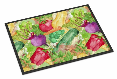 Watercolor Vegetables Farm to Table Indoor or Outdoor Mat 18x27 Perspective: front
