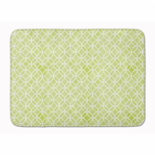 Gemoetric Circles on Green Watercolor Machine Washable Memory Foam Mat Perspective: front