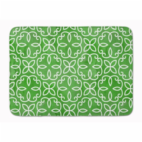 Watercolor Geometric Cirlce on Green Machine Washable Memory Foam Mat Perspective: front