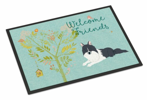Welcome Friends Black White Collie Indoor or Outdoor Mat 24x36 Perspective: front