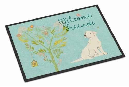 Welcome Friends Yellow Labrador Retriever Indoor or Outdoor Mat 24x36 Perspective: front