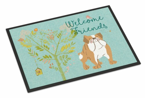 Welcome Friends English Bulldog Indoor or Outdoor Mat 24x36 Perspective: front