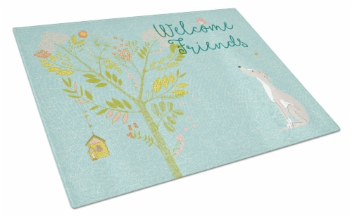 Welcome Friends Italian Greyhound Glass Cutting Board Large Perspective: front