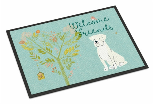Welcome Friends White Boxer Indoor or Outdoor Mat 18x27 Perspective: front