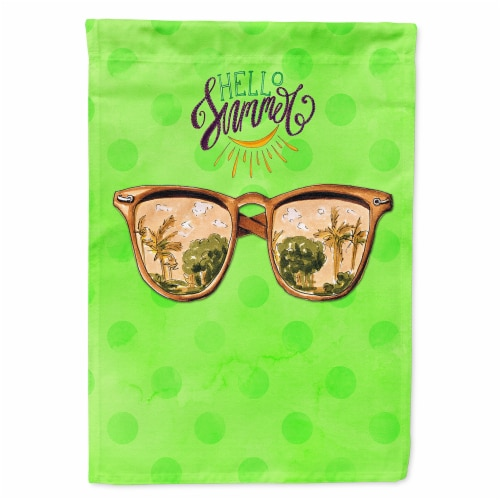 Beach Sunglasses Green Polkadot Flag Canvas House Size Perspective: front