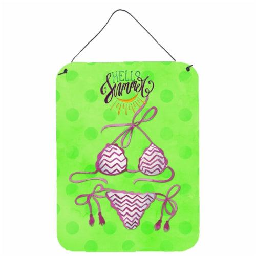 Bikini Swimsuit Green Polkadot Wall or Door Hanging Prints Perspective: front