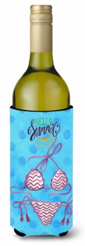 Bikini Swimsuit Blue Polkadot Wine Bottle Beverge Insulator Hugger Perspective: front