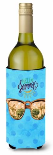 Beach Sunglasses Blue Polkadot Wine Bottle Beverge Insulator Hugger Perspective: front