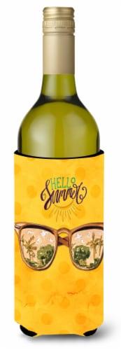 Beach Sunglasses Yellow Polkadot Wine Bottle Beverge Insulator Hugger Perspective: front