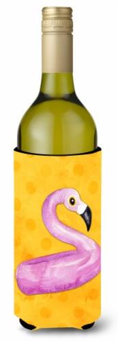 Flamingo Floaty Yellow Polkadot Wine Bottle Beverge Insulator Hugger Perspective: front