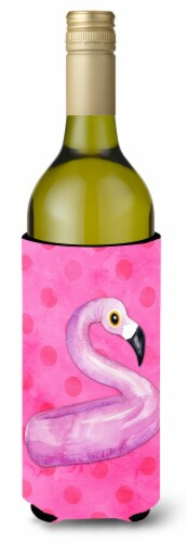 Flamingo Floaty Pink Polkadot Wine Bottle Beverge Insulator Hugger Perspective: front