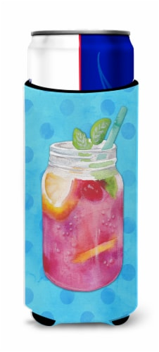 Mason Jar Cocktail Blue Polkadot Michelob Ultra Hugger for slim cans Perspective: front
