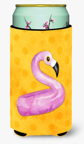 Flamingo Floaty Yellow Polkadot Tall Boy Beverage Insulator Hugger Perspective: front