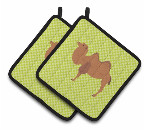 Carolines Treasures  BB7644PTHD Bactrian Camel Green Pair of Pot Holders Perspective: front