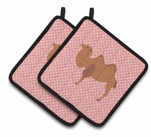 Carolines Treasures  BB7818PTHD Bactrian Camel Pink Check Pair of Pot Holders Perspective: front