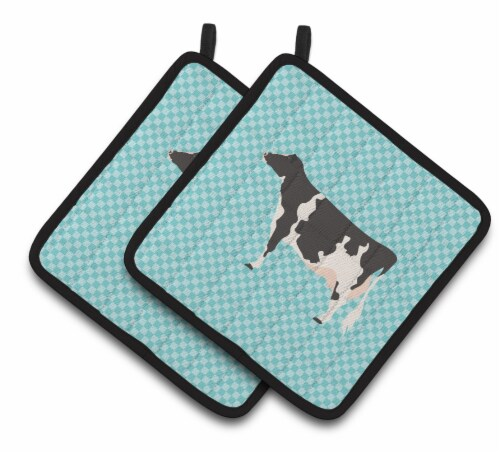Carolines Treasures  BB7996PTHD Holstein Cow Blue Check Pair of Pot Holders Perspective: front