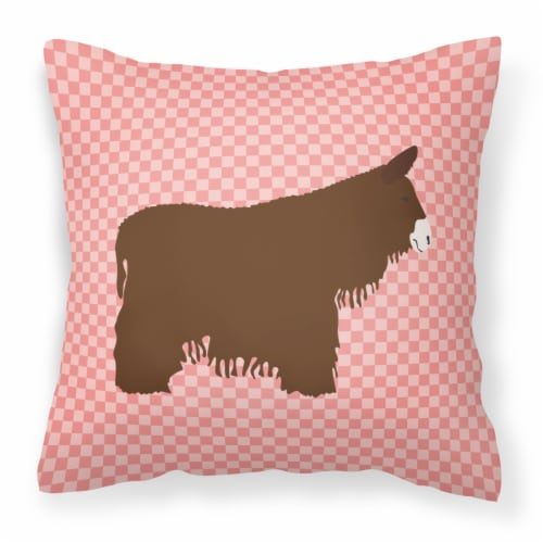 Poitou Poiteuin Donkey Pink Check Fabric Decorative Pillow Perspective: front