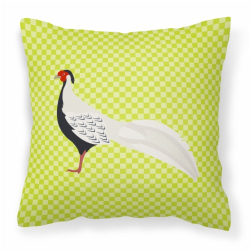 Carolines Treasures  BB7755PW1818 Silver Pheasant Green Fabric Decorative Pillow Perspective: front