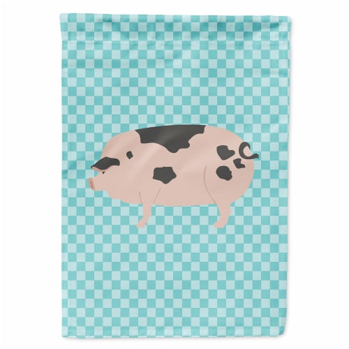 Gloucester Old Spot Pig Blue Check Flag Canvas House Size Perspective: front